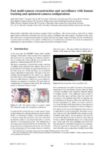 """A. Ober-Gecks, M. Hänel, T. Werner, D. Henrich: """"Fast multi-camera reconstruction and surveillance with human tracking and optimized camera configurations"""", Robotik 2014"""