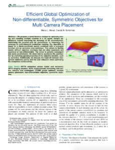 "M. Hänel, C.-B. Schönlieb: ""Efficient Global Optimization ofNon-differentiable, Symmetric Objectives forMulti Camera Placement"", 2021, IEEE Sensors"
